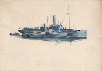 Artist Charles Cundall: Flagship of the anti-submarine training school at Tobermory with a small steam yacht alongside, c.1942