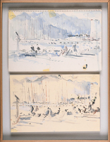 Artist Charles Cundall: Two sketches of Cannes, 1964-65