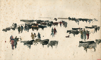 Artist Charles Cundall: Sketch for Cattle Market Newport, 1949