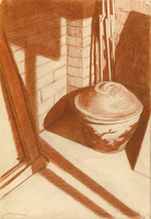 Artist Hubert Arthur Finney: A corner of the artists studio with easel and covered pot