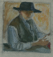 Artist Francis Spear: Self portrait in a large brimmed black hat, crca 1930