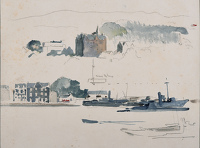 Artist Charles Cundall: Study of submarines at The Holy Loch, circa 1942