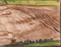 Artist Rudolph Sauter: Aerial view figures walking through ploughed field