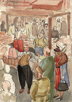 Artist Stanley Lewis: Market stall selling clothes, circa 1940