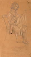 Artist Stanley Lewis: Study for Hyde Park, Mrs Roberts of Newport, seated sewing
