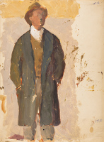 Artist Barnett Freedman: Figure study, man in frock coat, circa 1925