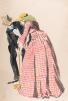 Artist Francis Spear: Man and woman playing croquet