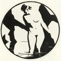 Artist Robert Gibbings: Nude in Pool, 1920