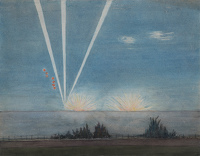 Artist R.W. Parfit: German flares and bomb blasts in Southern England, c. 1940