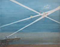 Artist R.W. Parfit: Hun raider dropping a parachute mine in a South Coast harbour, c. 1940