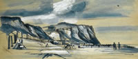 Artist Alan Sorrell: Beach Scene, probably Eype Beach in Dorset, circa 1950