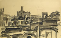 Artist Alan Sorrell: View on the Roman Forum from Capitoline Hill, 1937