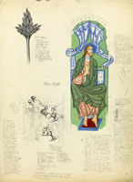 Artist Alan Sorrell: Sheet of studies of an illustminated manuscript