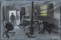 Artist Alan Sorrell: WW2, Interior of an RAF dormitory