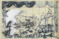 Artist Alan Sorrell: Study for Murals for the canteen of John D. Francis Ltd, Fazakerley, Liverpool, 1947