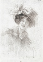 Artist Albert de Belleroche: Half length portrait of young woman wearing a broad fitting torque with large bow, circa 1900