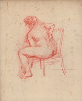 Artist Albert de Belleroche: Seated nude (recto); au toilette (verso)