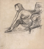 Artist Albert de Belleroche: Model in stockings seated on an armchair, profile view