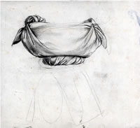 Artist Anne Newland: Study of a basket balanced on a womans head, for The Legend of Ceres, c. 1949