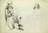 Artist Barbara Constance Freeman: Study of seated woman with fur trimmed coat and hat, 19 March 1926