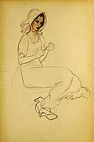Artist Barbara Constance Freeman: Study of a seated lady with pink hat, circa 1925