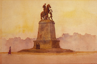 Artist Charles Cundall: Figures in front of the Garibaldi monument, Rome, circa 1922