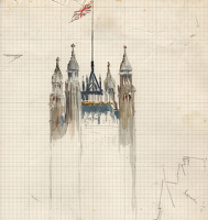 Artist Charles Cundall: B. Sketch for Demolition of St Thomas, 1968