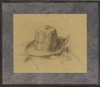 Artist Charles Mahoney: Study of the artists hat
