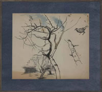 Artist Charles Mahoney: Study of an apple tree with finch
