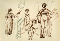 Artist Charles Mahoney: Sheet of studies of a Muse