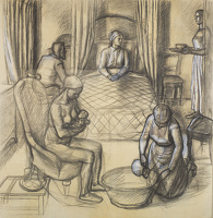 Artist Charles Mahoney: The full size preparatory cartoon for The Birth of the Virgin, Campion Hall, circa 1941