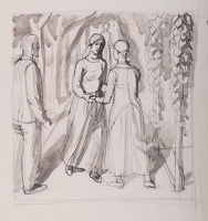 Artist Charles Mahoney: Study for The Visitation, c. 1942