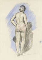 Artist Charles Mahoney: Standing nude, rear view