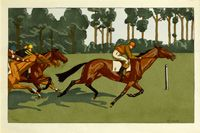 Artist Charlotte Ancelin: A set of three prints - Longchamps and other races, circa 1910