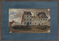Artist Denys Wells: Shell damaged buildings Northern France, c.1918,