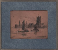 Artist Edgar Maybery: Sailing boats in from of The Houses of Parliament, circa 1910