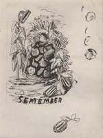 Artist Evelyn Dunbar: September, preparatory drawing for Country Life 1938 Gardener's Diary [HMO 232]