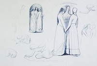 Artist Evelyn Dunbar: Sketches for Faith, Hope and Charity, circa 1948