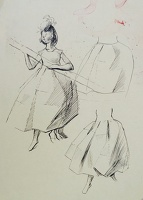 Artist Evelyn Dunbar: Working sketch of a young woman holding a pole