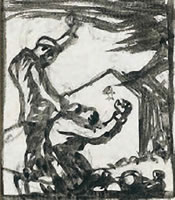 Artist Frank Brangwyn: Original design for the woodcut The Fire, Tragedy of Dixmude, 1919