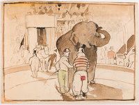 Artist Harry Epworth Allen: At the circus, two clowns and an elephant