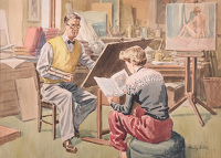 Artist Henry Arthur Riley: Riley in his studio, with his daughter Barbara, 1948