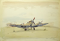 Artist Henry C. O Donnell: Spitfire, in from Dieppe, Crash Landed 1942