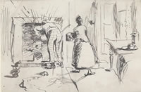 Artist Henry Tonks: Stoking the fire - circa 1900