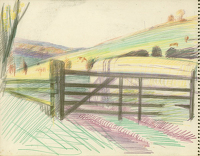 Artist Hubert Arthur Finney: Path in the countryside with a five bar gate
