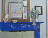 Artist James Wood: Still life of blue chimney with flowers in a vase