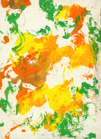 Artist John Cecil Stephenson: Abstract in yellow, orange and green. circa 1942