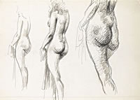 Artist John Cecil Stephenson: Triple Life Study, three quarter rear view
