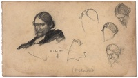 Artist Joseph Southall: Sheet of portrait studies of Sir William Blake Richmond, 25.X.1886