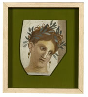 Artist Mary Adshead: Portrait fragment - woman with hair dessed with olive leaves, circa 1930